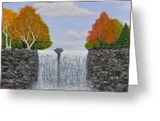 Autumn Waterfall Greeting Card by Georgeta  Blanaru