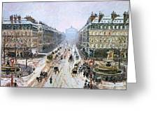 Avenue De L'opera - Effect Of Snow Greeting Card by Camille Pissarro