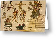 Aztec Priests Appease Mictlantecuhtli Greeting Card by Photo Researchers