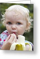 Baby And Banana Greeting Card by Holst Photography