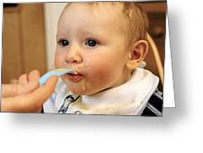 Baby Boy Being Fed Greeting Card by Tek Image