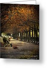 Baby Carriage With Toy Bear Alone On Street Greeting Card by Sandra Cunningham