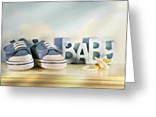 Baby Denim Shoes Greeting Card by Sandra Cunningham