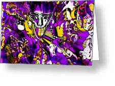 Bad Monday - Ironic Laugh -  Purple-yellow  Greeting Card by JL Eichers