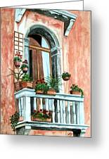 Balcony In Venice Greeting Card by Karen Casciani