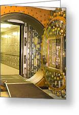 Bank Vault Doors Leading To Safety Deposit Boxes Greeting Card by Adam Crowley