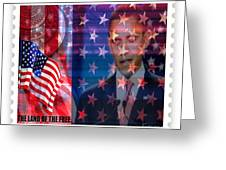 Barack A Stamp Greeting Card by Fania Simon