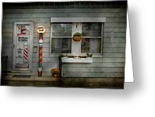 Barber - Belvidere Nj - A Family Salon Greeting Card by Mike Savad