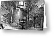 Barber - Chair - Eastern State Penitentiary - Black And White Greeting Card by Paul Ward