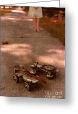 Barefoot Girl On Sidewalk With Roller Skates Greeting Card by Jill Battaglia