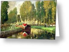 Barge On A River Normandy Greeting Card by Rupert Charles Wolston Bunny