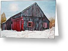 Barn In Snow Southbury Ct Greeting Card by Stuart B Yaeger