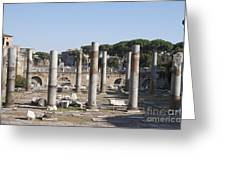 Base Of Trajan's Column And The Basilica Ulpia. Rome Greeting Card by Bernard Jaubert