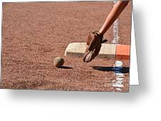 baseball and Glove Greeting Card by Randy J Heath
