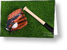 Baseball Glove Bat And Ball On Grass Greeting Card by Richard Thomas