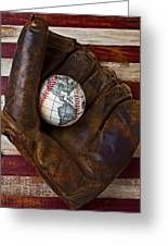 Baseball Mitt With Earth Baseball Greeting Card by Garry Gay