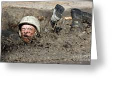 Basic Cadet Trainees Attack The Mud Pit Greeting Card by Stocktrek Images