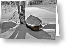 Bath and Snowy Rowboat Greeting Card by Ari Salmela