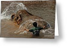 Bath Time In Laos Greeting Card by Bob Christopher