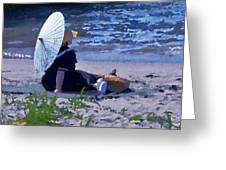 Bather By The Bay - Square Cropping Greeting Card by David Coblitz