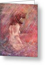 Bathing In The Rain Greeting Card by Rachel Christine Nowicki