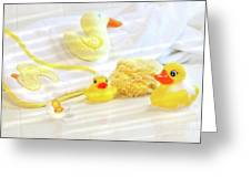 Bathtime For Baby Greeting Card by Sandra Cunningham