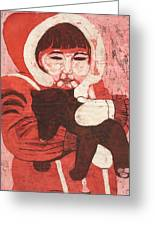 Batik -girl W Bear- Greeting Card by Lisa Kramer