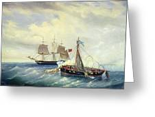 Battle Between The Russian Ship Opyt And A British Frigate Off The Coast Of Nargen Island  Greeting Card by Leonid Demyanovich Blinov