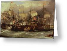 Battle Of Cape St Vincent Greeting Card by Sir William Allan
