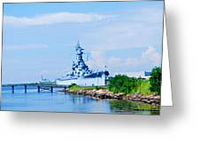 Battle Ship In Color Greeting Card by Malania Hammer