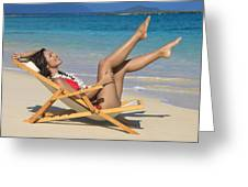 Beach Stretching II Greeting Card by Tomas del Amo