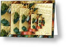 Beads On Ivory Knit Greeting Card by Gretchen Wrede