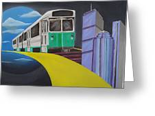 Beantown Transit Greeting Card by Michael Holmes