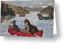 Bears In Canoes Greeting Card by Brenda Ticehurst