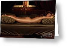 Beautiful Woman Sleeping Naked Greeting Card by Oleksiy Maksymenko