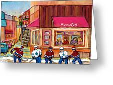 Beauty's Restaurant-montreal Street Scene Painting-hockey Game-hockeyart Greeting Card by Carole Spandau