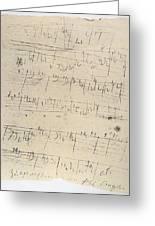 Beethoven Manuscript, 1826 Greeting Card by Granger