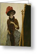 Before The Swing Mirror Greeting Card by Emile Galle
