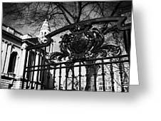 Belfast Coat Of Arms On Gates Of The City Hall Northern Ireland Uk Greeting Card by Joe Fox