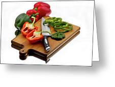 Bell Peppers And Knife On Cutting Board Greeting Card by Gert Lavsen