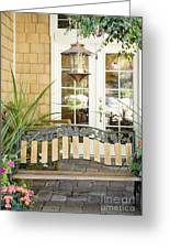 Bench On Patio Greeting Card by Andersen Ross