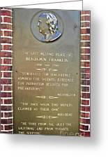 Benjamin Franklin Marker Greeting Card by Snapshot  Studio
