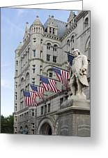 Benjamin Franklin Statue In Front Of The Old Post Office - Washington Dc Greeting Card by Brendan Reals