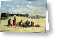 Berck - Fisherwomen On The Beach Greeting Card by Eugene Louis Boudin