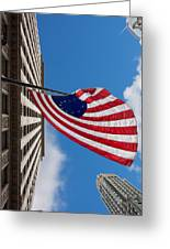 Betsy Ross Flag In Chicago Greeting Card by Semmick Photo