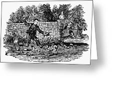 Bewick: Boy With Dogs Greeting Card by Granger