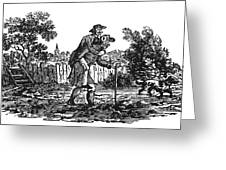 Bewick: Man Carrying Man Greeting Card by Granger