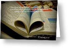 Bible Heart Scripture Art 2 Timothy 2 Greeting Card by Cindy Wright