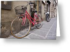 Bicycles Parked In The Street Greeting Card by Jeremy Woodhouse