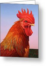 Big Red Rooster Greeting Card by James W Johnson